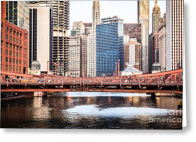 Downtown Chicago Skyline At Lasalle Street Bridge Greeting Card