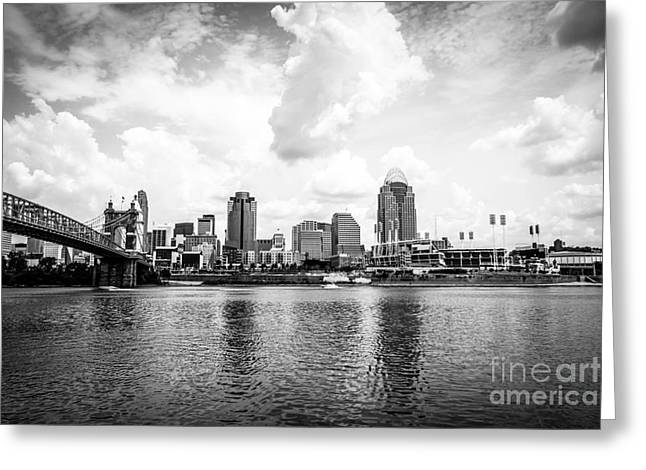 Downtown Cincinnati Skyline Black And White Picture Greeting Card