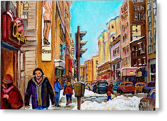 Downtown City Life Greeting Card