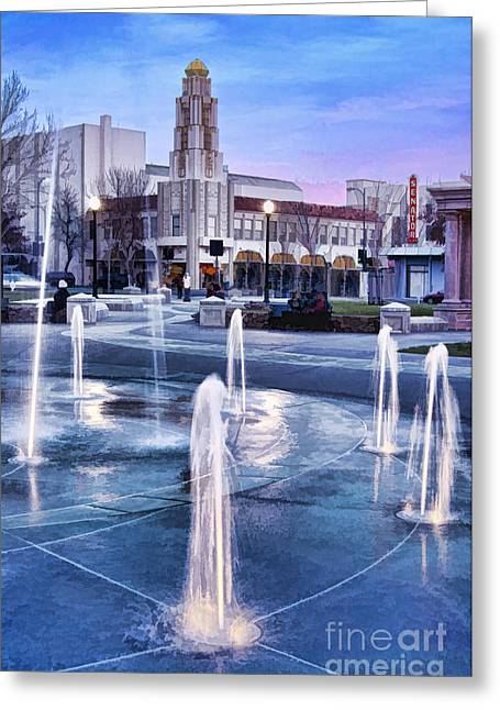 Downtown City Plaza Chico California Greeting Card