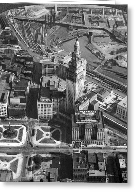 Downtown Cleveland In 1929 Greeting Card by Underwood Archives