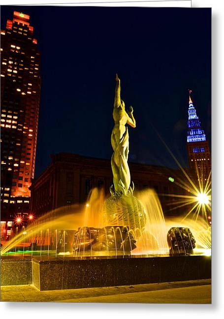 Downtown Cleveland Greeting Card by Frozen in Time Fine Art Photography