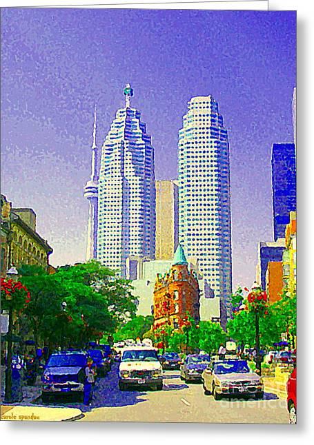 Downtown Core Flatiron Building And Cn Tower Toronto City Scenes Paintings Canadian Art Cspandau Greeting Card by Carole Spandau