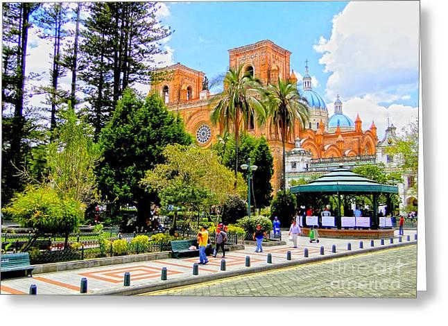 Downtown Cuenca Ecuador Greeting Card by Al Bourassa