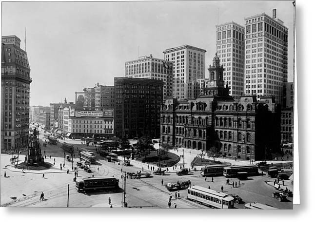 Downtown Detroit 1915 Greeting Card by Mountain Dreams