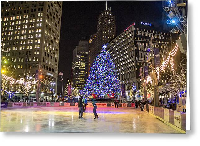 Downtown Detroit Ice Rink  Greeting Card