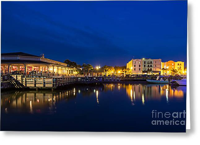 Downtown Fernandina Beach At Twilight Greeting Card