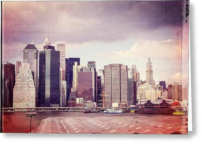 Downtown From Brooklyn Greeting Card by Frank Winters