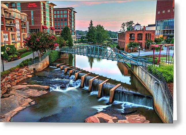Downtown Greenville On The River Greeting Card