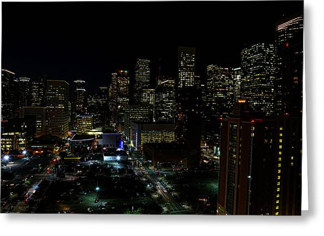 Downtown Houston At Night Greeting Card