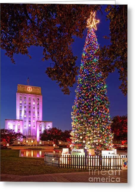 Downtown Houston Christmas Tree And City Hall At Twilight - Houston Texas Greeting Card by Silvio Ligutti
