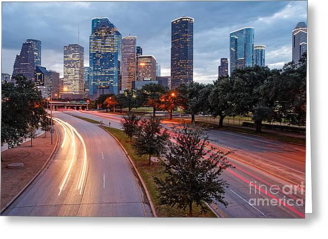 Downtown Houston From The Allen Parkway Foot Bridge - Houston Texas Greeting Card by Silvio Ligutti
