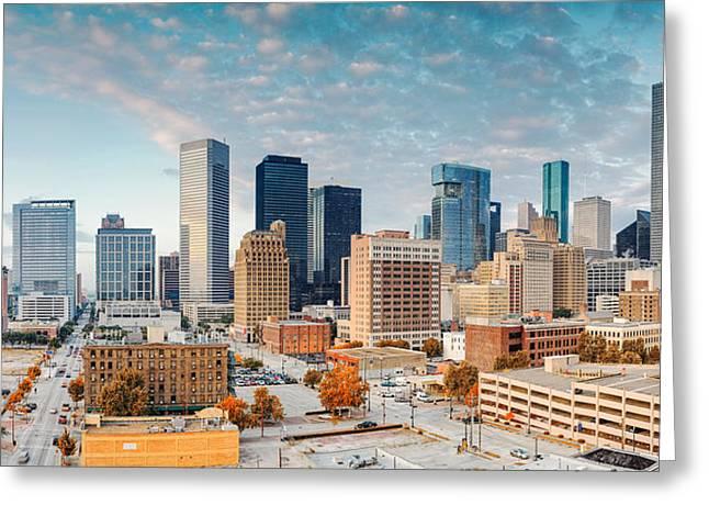 Downtown Houston Panorama Greeting Card by Silvio Ligutti