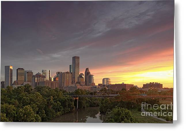 Downtown Houston Skyline Glorious Sunset Light Greeting Card by Silvio Ligutti