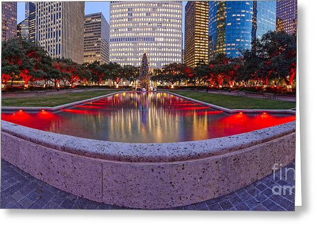 Downtown Houston Skyline Hermann Square City Hall Decked Out In Christmas Lights - Houston Texas Greeting Card