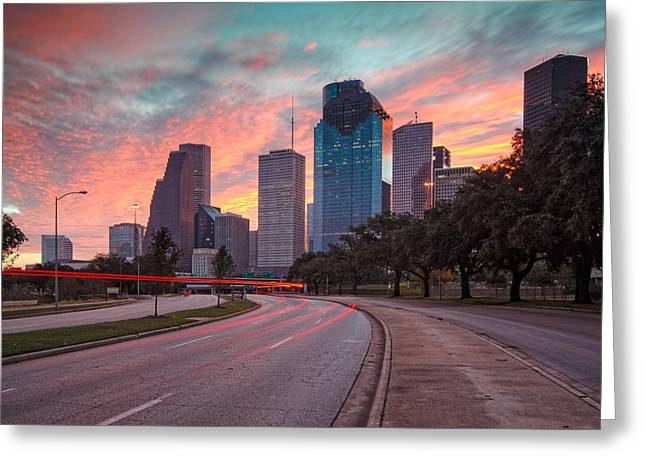 Downtown Houston Skyline The Great Fire Of 2012 Greeting Card by Silvio Ligutti