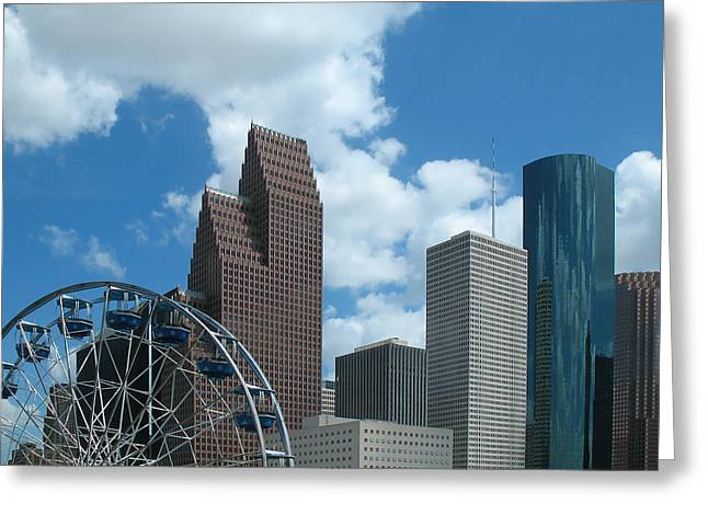 Downtown Houston With Ferris Wheel Greeting Card by Connie Fox