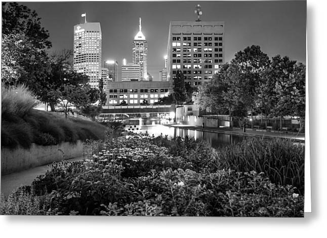 Downtown Indianapolis Skyline At Night - Black And White Greeting Card