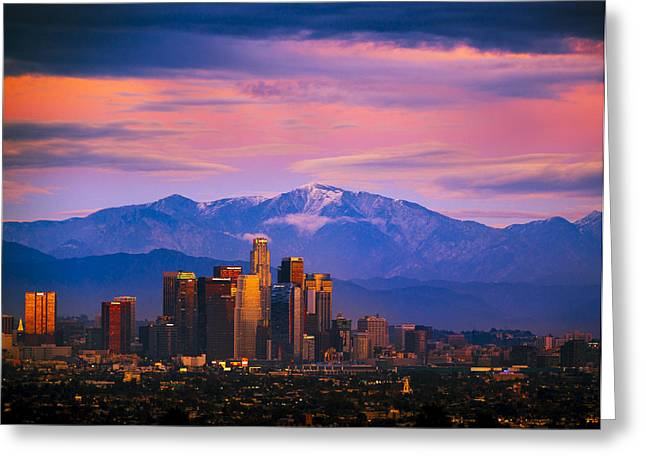 Downtown Los Angeles After Sunset Greeting Card