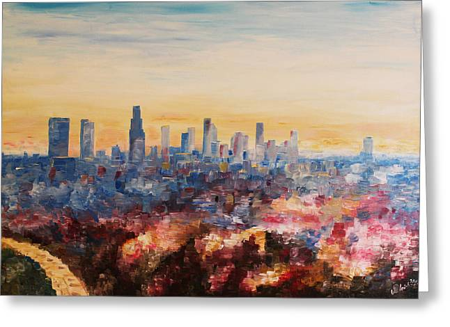 Downtown Los Angeles At Dusk Greeting Card by M Bleichner