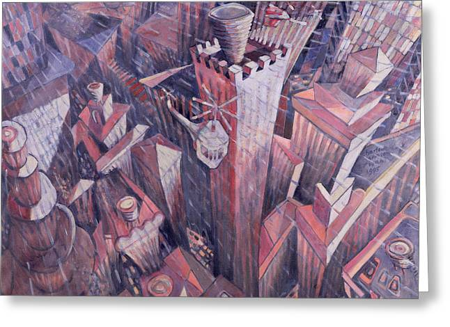 Downtown Manhattan Hailstorm, 1995 Oil On Canvas Greeting Card