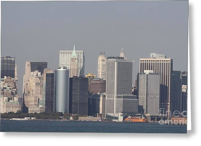 Downtown Manhattan Shot From The Staten Island Ferry Greeting Card by John Telfer