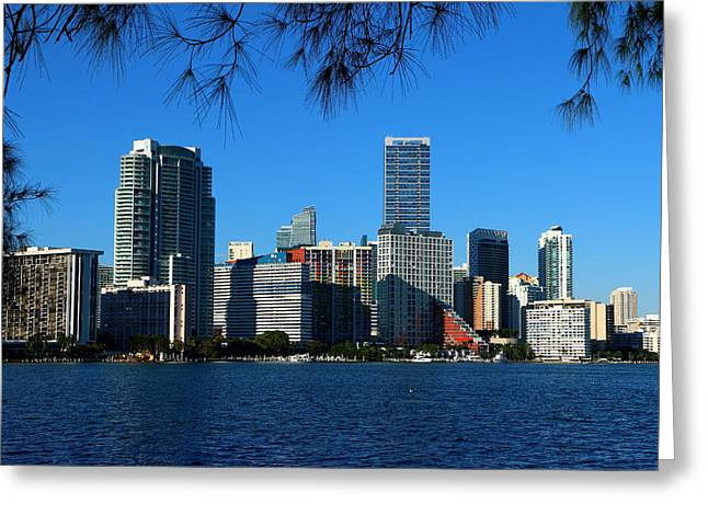 Downtown Miami Skyline Greeting Card by Christiane Schulze Art And Photography