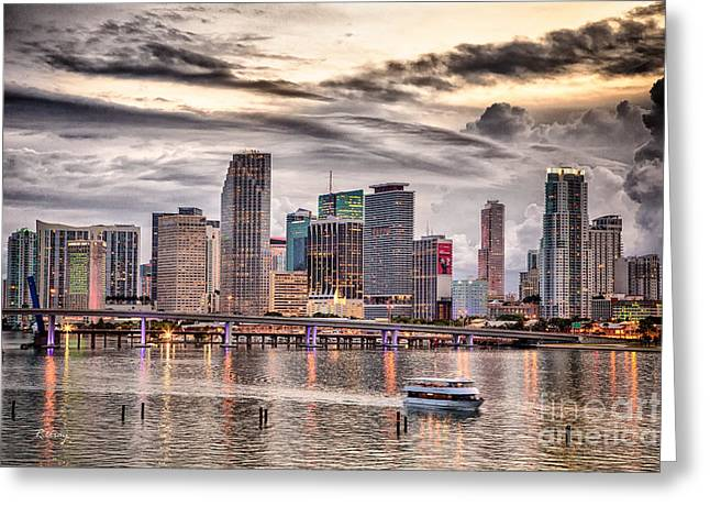 Downtown Miami Skyline In Hdr Greeting Card