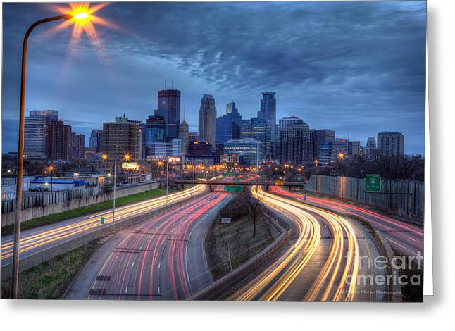 Downtown Minneapolis Skyline On 35 W Greeting Card by Wayne Moran
