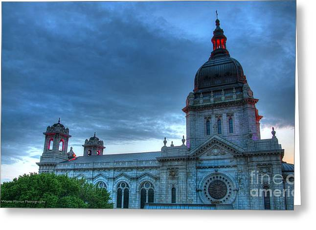 Downtown Minneapolis Skyline The Basilica Of Saint Mary Greeting Card by Wayne Moran