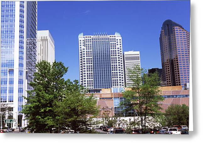 Downtown Modern Buildings In A City Greeting Card by Panoramic Images