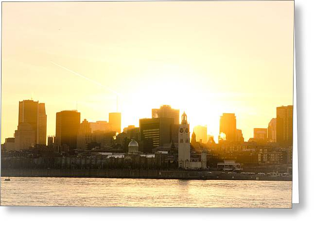 Downtown Montreal In Fall Season Dusk Greeting Card by Eric Soucy