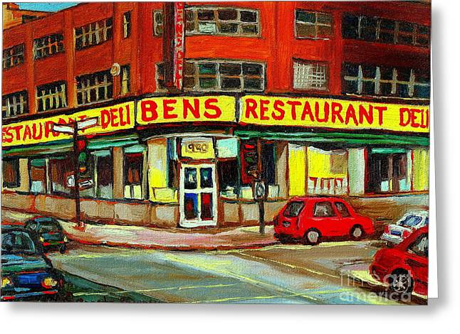 Downtown Montreal Memories Ben's Restaurant Deli  Le Fameux Smoked Meat Produits By Carole Spandau Greeting Card by Carole Spandau