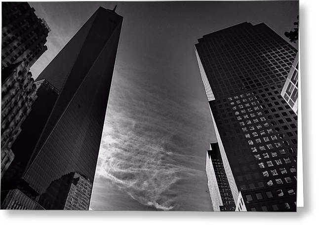 Downtown New York City In Black And White Greeting Card by Dan Sproul