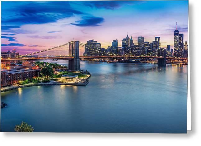 Downtown New York With Brooklyn Bridge  Greeting Card