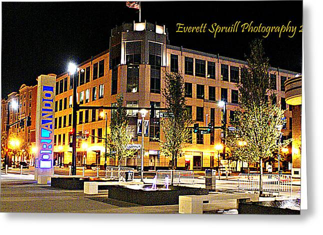 Downtown Orlando At Amway Center Greeting Card by Everett Spruill