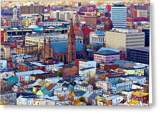 Downtown Paterson Greeting Card by Mark Miller