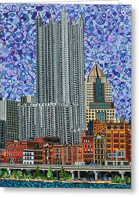Downtown Pittsburgh - View From Smithfield Street Bridge Greeting Card by Micah Mullen