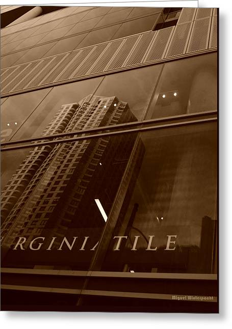 Downtown Reflections Greeting Card by Miguel Winterpacht