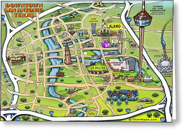 Downtown San Antonio Texas Cartoon Map Greeting Card