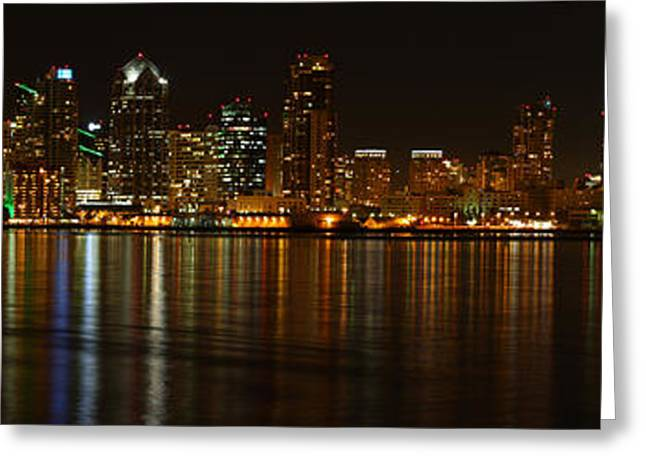 Downtown San Diego At Night From Harbor Drive Greeting Card