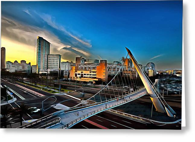 Downtown San Diego Petco Park Greeting Card by Russ Harris