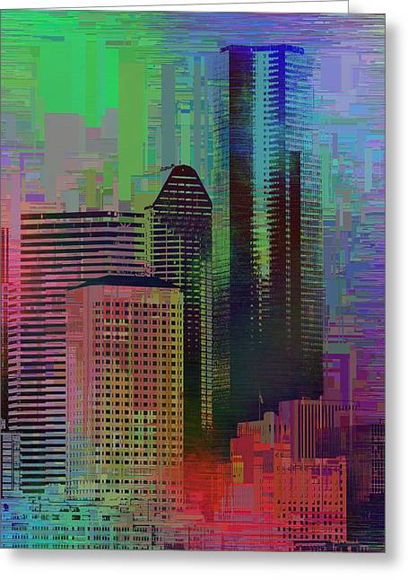 Downtown Seattle Cubed 3 Greeting Card by Tim Allen