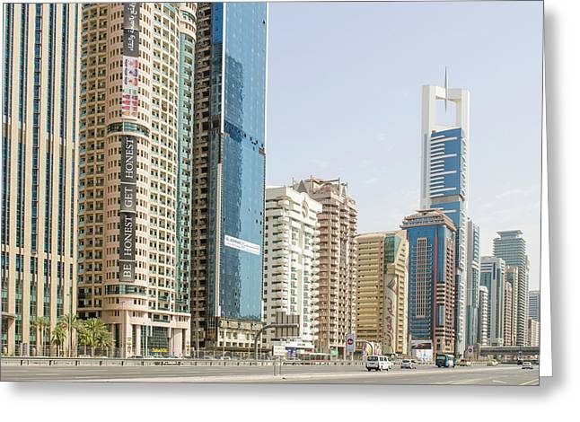 Downtown Skyline Of Dubai, United Arab Greeting Card