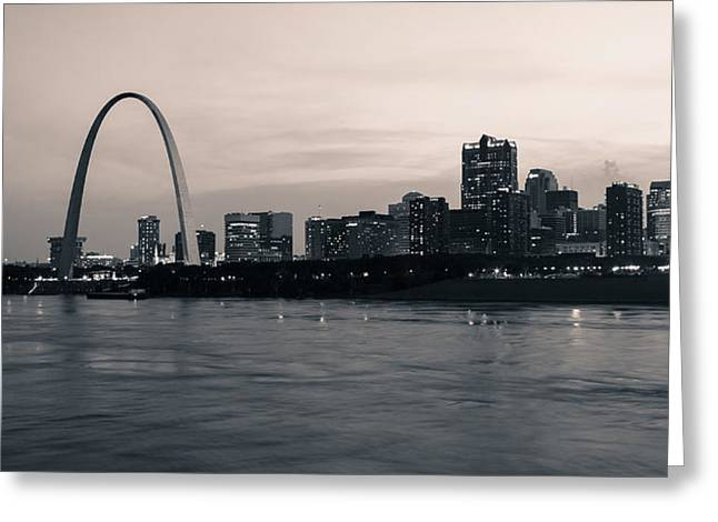 Downtown St. Louis In Twilight Greeting Card by Scott Rackers