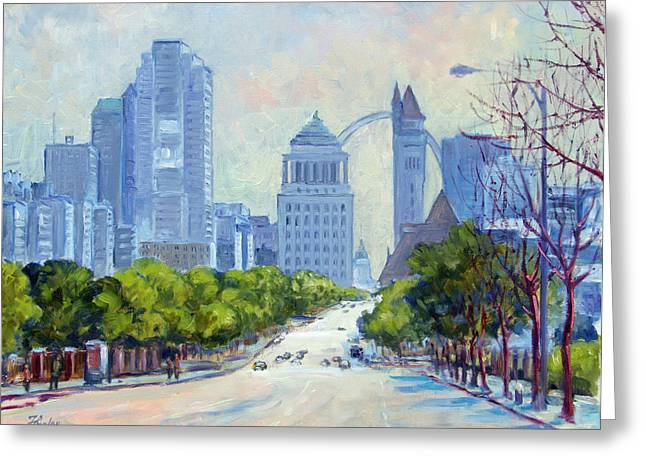 Downtown St.louis From Market Street Greeting Card