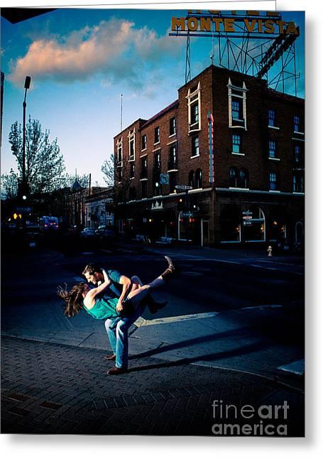 Downtown Swing Greeting Card by Scott Sawyer