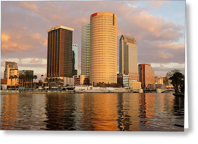 Downtown Tampa At Dusk On Hillsborough River Greeting Card
