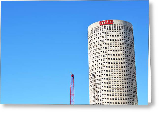 Downtown Tampa Photography - Leaning Tower Of Sykes - Sharon Cummings Greeting Card by Sharon Cummings