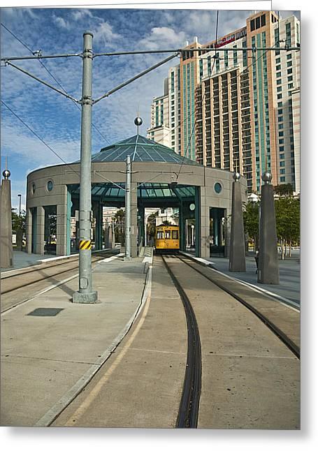 Downtown Tampa Streetcar Greeting Card